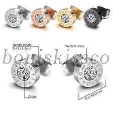 Roman Numerals Ear Studs Earrings Men's Women's Stainless Steel Cubic Zirconia