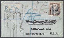 BAHAMAS US 1927 REGISTERED NASAU MONTOGOMERY WARD ORDER ENVELOPE TARPUM BAY CANC