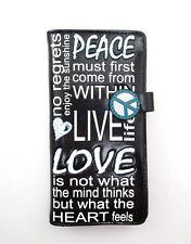 SHAGWEAR Wallet ~ Peace-Live-Love-Heart ~ Black Snap Tab Zippered Wallet ~ New