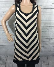 Jovovieh Hawk Tank Top XS Black Tan Chevron Striped Tunic Length Sleeveless
