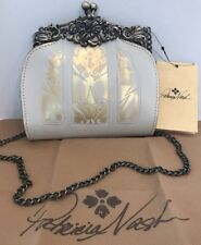 Patricia Nash Clutch Burnished Tooled Rosaria Small Frame White Gold Crossbody