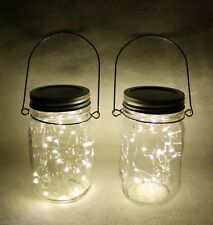 Whimsical Set Of 2 Pint BALL JARS W/ LED FAIRY STRING LIGHTS & HANDLES Assembled