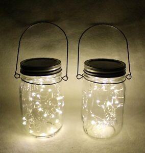 Pint Ball Jars W/ LED Fairy String Lights & Handles Assembled Set Of 2 New