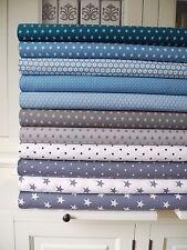 10x Stoff GRAU Blau großes Stoffpaket Sterne Taube Stoffe Patchwork Shabby chic