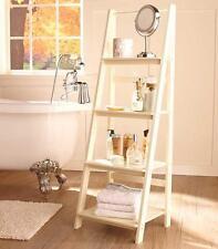 Living Room Antique White Wooden Leaning Ladder Shelf Bookcase Home Decor