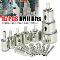 15PCS Diamond Hole Saw Drill Bit Set Glass Ceramic Tile Saw Cutting Tool 6-50mm