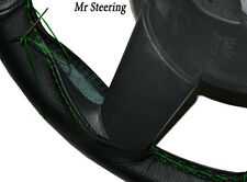 FOR MERCEDES-BENZ W123 76-84 REAL BLACK LEATHER STEERING WHEEL COVER GREEN ST