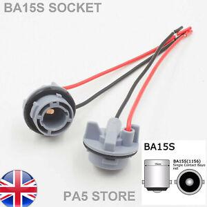 2x BA15S 1156 Plastic Wired Light Bulb Socket Holder - P21W Cars Vans TRUCKS LED