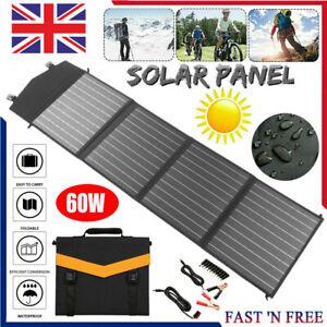 60w 18v Folding Solar Panel Charging Kit For Caravan Motorhome Campervan Boat UK