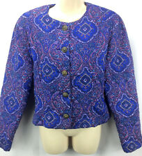 SK & Company 14 XL Quilted Jacket Top Boho Purple Paisly Lined Metal Buttons