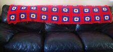 Vintage Crochet Granny Squares Afghan Handmade Love Blanket Cottage BOHO 84 x 50