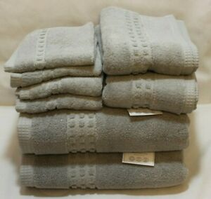 Hotel Vendome Spa Collection Eight Piece Solid Light Gray Bathroom Towel Set NWT