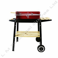 Heavy Duty Portable Barbecue Rotisserie Charcoal Fire Garden BBQ Red + Black