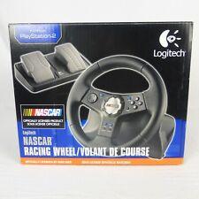 Logitech Nascar Driving Force Pro Feedback Steering Wheel Pedals w Box PS2 EUC