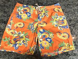 Vintage POLO by RALPH LAUREN Large Men's Orange Floral Swim Shorts Size 38