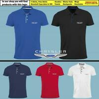 Chrysler Polo T Shirt EMBROIDERED Auto Car Logo Slim Fit Tee Gift Mens Clothing