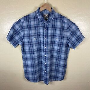 Lucky Brand Button Up Shirt Mens Large Blue Plaid Short Sleeve Two Pocket