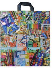 NEU 100 Plastiktüten Tragetaschen Einkaufstüten im Schreibwaren Look 48x43cm TOP