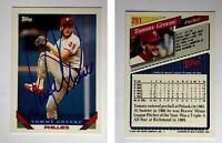 Tommy Greene Signed 1993 Topps #291 Card Philadelphia Phillies Auto Autograph