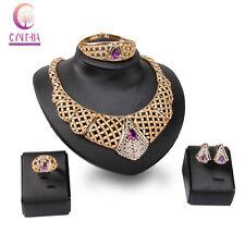 Gold plated Collar Purple Gem Crystal Jewelry Set