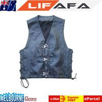 Mens Braid Leather Vest Metal Clasp Motorcycle Heavy Duty MotorBike Summer Vest