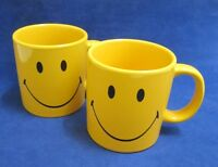 Waechtersbach Germany 2 Yellow Smiley Face Coffee Mugs Happy Face Fun Factory