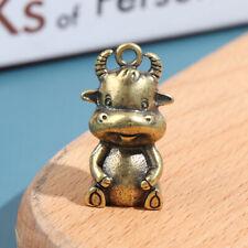 Brass Zodiac Bull Figure Keyring Hanging Trinkets Vintage Copper Cow PendantR_YU