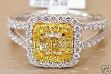 Certified 2.00ct Cushion Cut Fancy Yellow Diamond Engagement Ring 14K White Gold