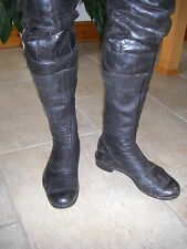 Vintage LEWIS LEATHERS Cafe Racer black leather boots size 10
