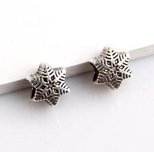 20pcs Zinc alloy nice snowflake charms big hole beads(5mm)