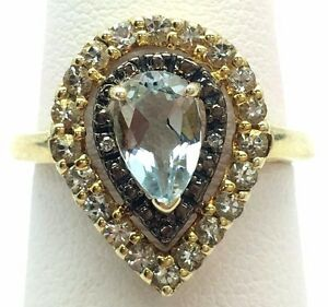 Sterling Silver 925 Gold Tone Pear Blue Aquamarine CZ Halo Cocktail Band Ring