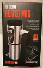 Smart Gear NIB 12V Digital Heated Stainless Steel Travel Mug With Charger