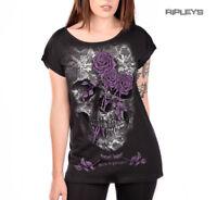 ALCHEMY England Ladies Top Goth Punk Purple Rose 'Lace Skull' Black All Sizes