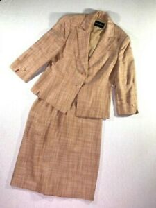Giorgio Armani Womens Summer Suit Size 10 Silk and Linen Pink Tan