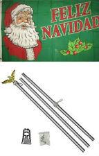 3x5 Merry Christmas Feliz Navidad Flag Aluminum Pole Kit Set 3'x5'