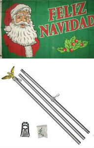 3x5 Merry Christmas Feliz Navidad Flag Aluminum Pole Kit Set 3'x5'