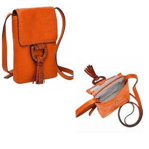Fossil Bobbie Leather Crossbody Phone Bag Poppy Orange Tassel $88 New NWT