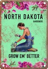 "North Dakota Gardeners Grow Em' Better 10"" x 7"" Retro Vintage Look Metal Sign"