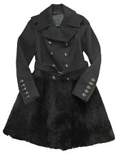BURBERRY PRORSUM Black Wool & Shearling Fur Skirt Military Buttoned Coat IT 44
