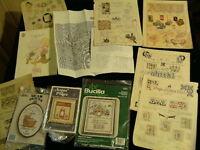 Vintage Bucilla Cross Stitch Needlework Sewing Pattern Book & Kit Lot of 10  D7