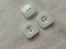 NEW 25 PC. BAG  7/8 INCH WHITE SQUARE FLAT WIDE RIM POLISHED FINISH BUTTONS