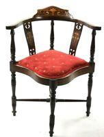 Antique Edwardian Marquetry Inlaid Mahogany Corner Chair [5624]