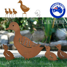 Metal Garden Family Duck Shape Stake Animal Retro Outdoor Sculpture Ornament AU