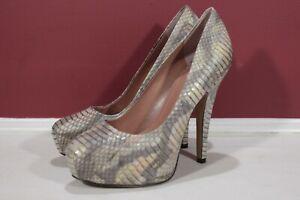 Genuine Vince Camuto Leather Snake Skin Design High Platform Heels Size 7M