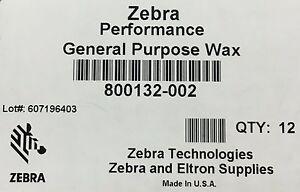 Zebra 800132-002 Wax Ribbon 2.24in x 242ft 5319 0.5in core Thermal Transfer 12RL