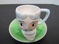 PY Japan ~ Gentleman Moustache Hand Painted Mug Cup Saucer ~ Anthropomorphic