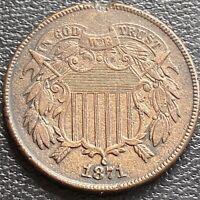 1871 Two Cent Piece 2c High Grade AU UNC Details  #29462