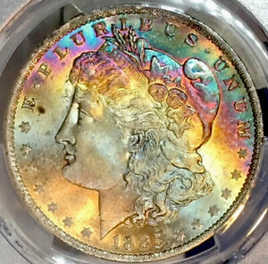 CAC 1885-O Morgan Dollar PCGS MS65 CAC Vibrant Colorful Rainbow Toned Gem!