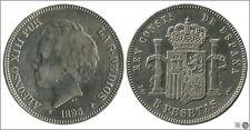 España 5 pesetas 1893 PGV Ag MBC / VF Alfonso XIII 00149