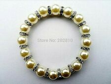 Silver Plated Diamante ring and white pearl stretchy Bracelet for  gift